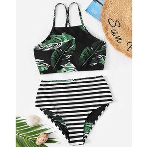 SHEIN NWT! Random Leaf Lace-Up High Waisted Bikini